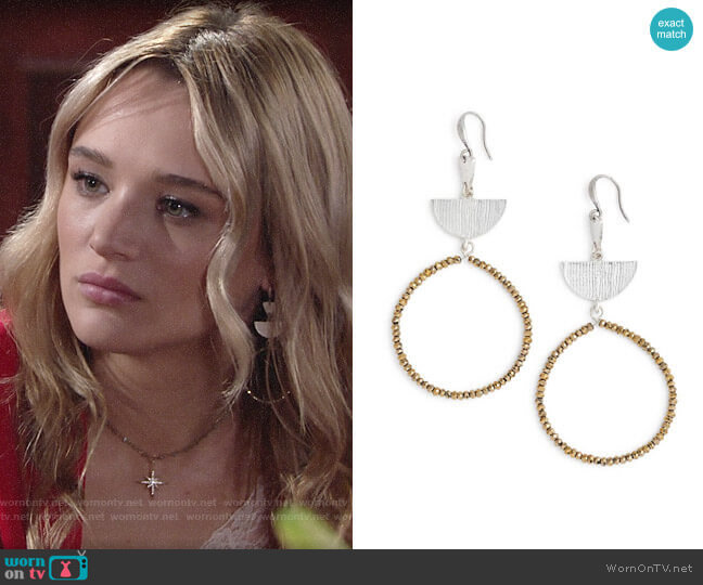 Treasure & Bond Etched Plate Beaded Earrings worn by Summer Newman (Hunter King) on The Young & the Restless