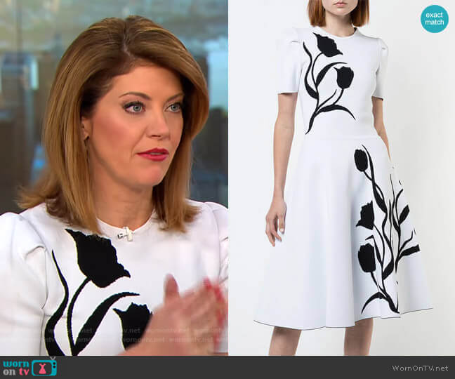 Tulip Intarsia Knit Dress by Carolina Herrera worn by Norah O'Donnell  on CBS This Morning