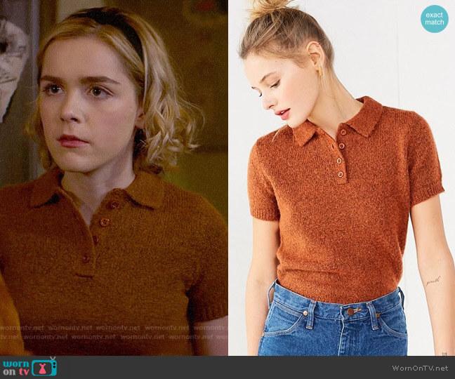 UO Shrunken Fuzzy Polo Sweater worn by Kiernan Shipka on Chilling Adventures of Sabrina