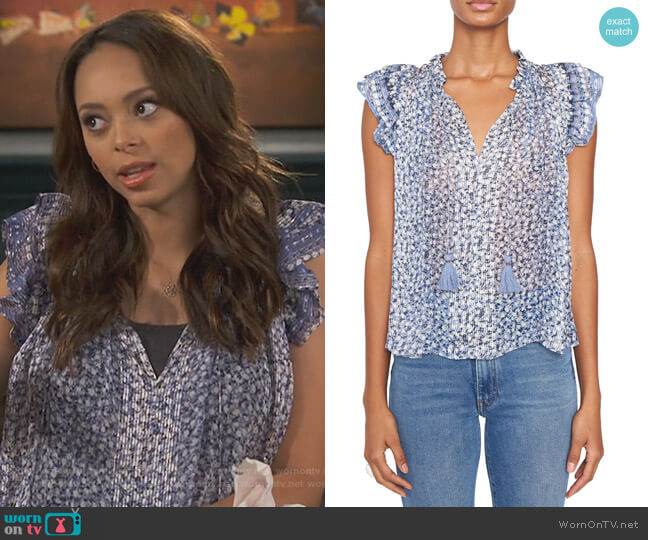 Doria Blouse by Ulla Johnson worn by Amber Stevens West on Happy Together