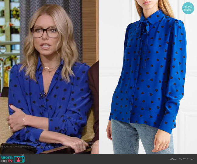 Pussy-Bow Printed Silk Blouse by Valentino worn by Kelly Ripa  on Live with Kelly & Ryan