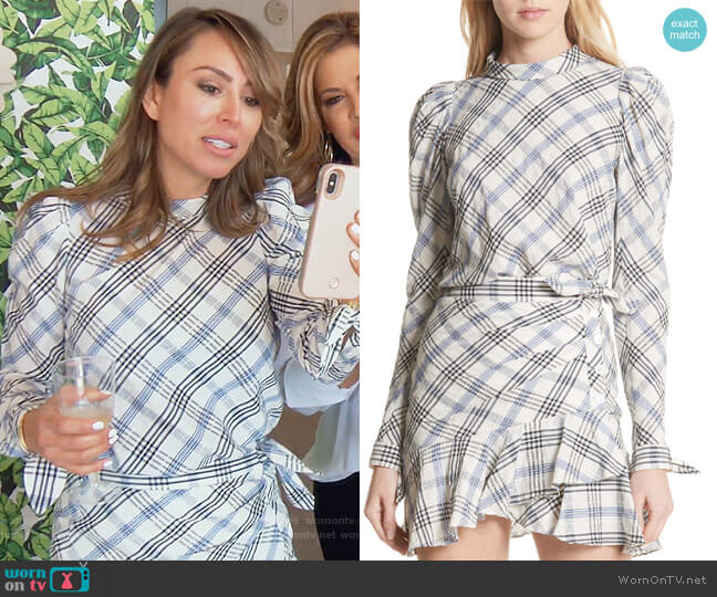 Isabel Check Top and skirt by Veronica Beard worn by Kelly Dodd (Kelly Dodd) on The Real Housewives of Orange County