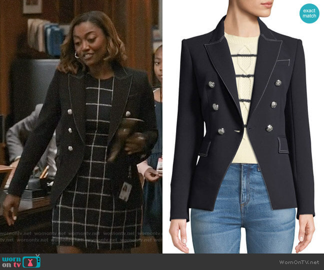 Veronica Beard Miller Blazer in Navy worn by Patina Miller on Madam Secretary