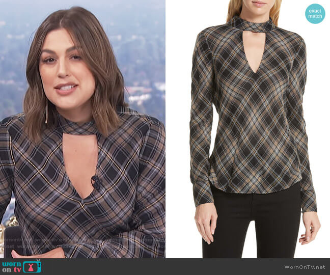 Wade Metallic Plaid Top by Veronica Beard worn by Carissa Loethen Culiner  on E! News
