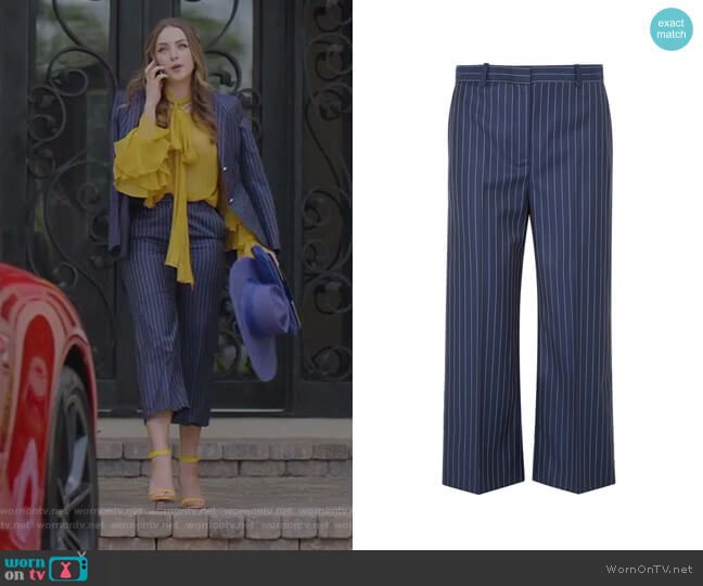 Cropped Striped Wide-Leg Pants by Versace worn by Elizabeth Gillies on Dynasty
