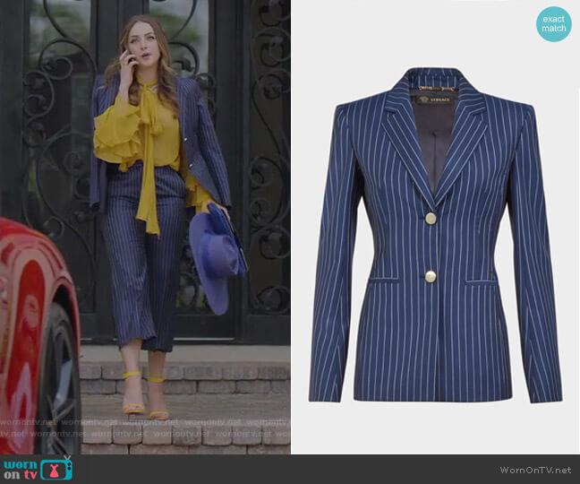 Pin Stripe Wool Blazer by Versace worn by Fallon Carrington (Elizabeth Gillies) on Dynasty