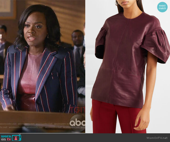 Leather top by Victoria, Victoria Beckham worn by Annalise Keating (Viola Davis) on HTGAWM