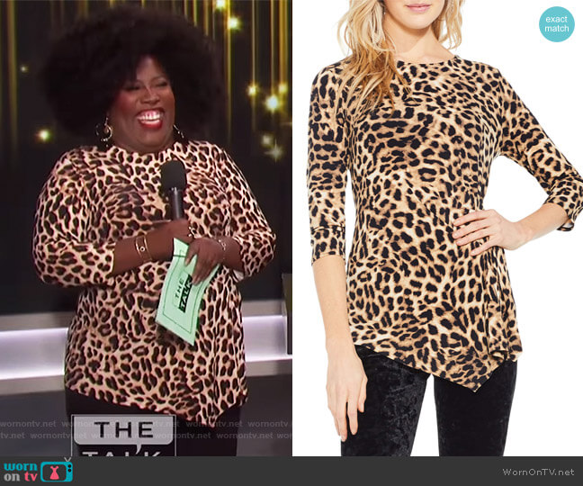 Leopard Print Asymmetrical Hem Top by Vince Camuto worn by Sheryl Underwood on The Talk