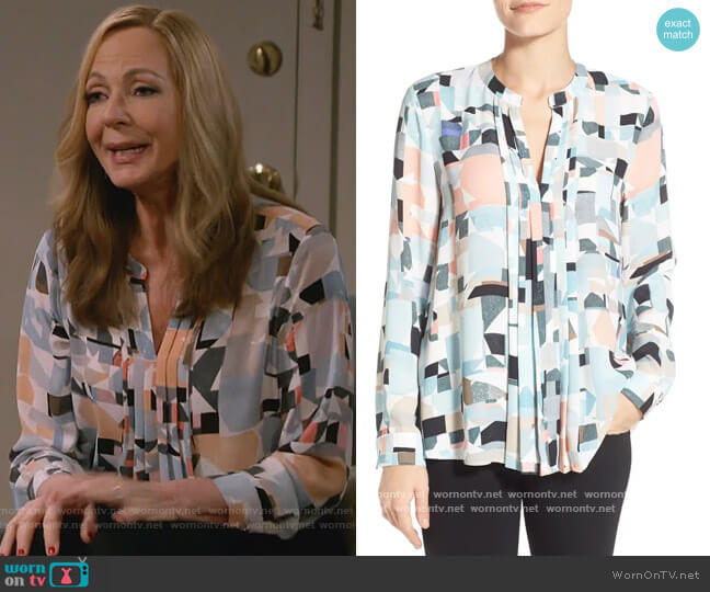 Vince Camuto Print Pleat Front Split Neck Blouse worn by Bonnie Plunkett (Allison Janney) on Mom