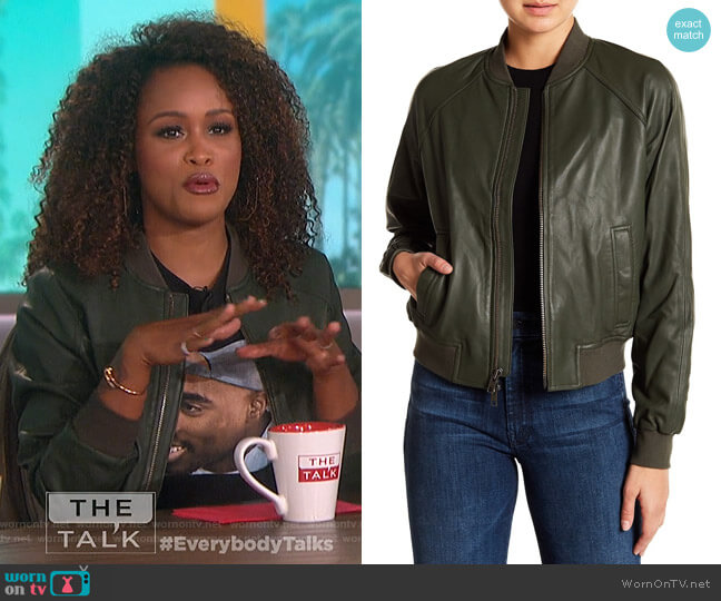 Leather Bomber Jacket by Vince worn by Eve on The Talk