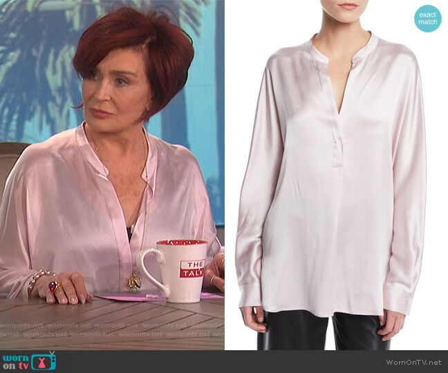 Split-Neck Long-Sleeve Silk Satin Blouse by Vince worn by Sharon Osbourne (Sharon Osbourne) on The Talk