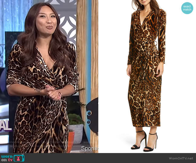 Gwyneth Velvet Wrap Midi Dress by WAYF worn by Jeannie Mai on The Real