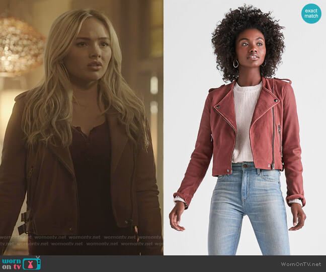 Washed Leather Moto Jacket by Lucky Brand worn by Lauren Strucker (Natalie Alyn Lind) on The Gifted