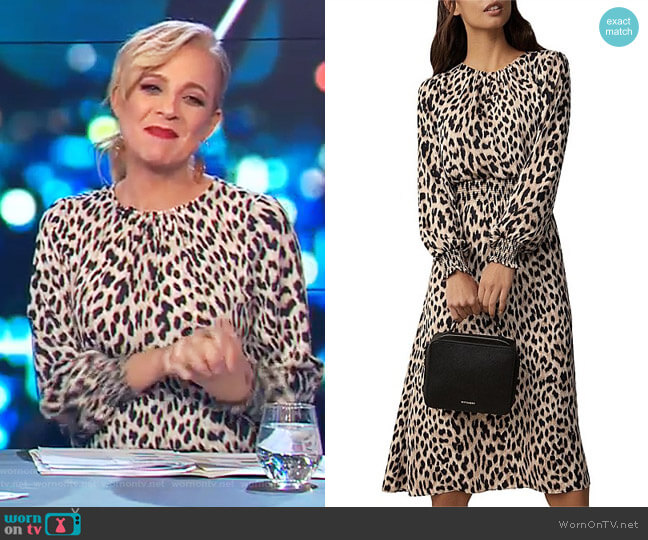 Animal Midi Dress by Witchery worn by Carrie Bickmore on The Project