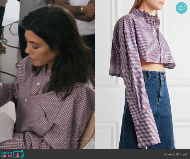Cropped checked cotton-poplin shirt by Y/Project worn by Kourtney Kardashian  on Keeping Up with the Kardashians