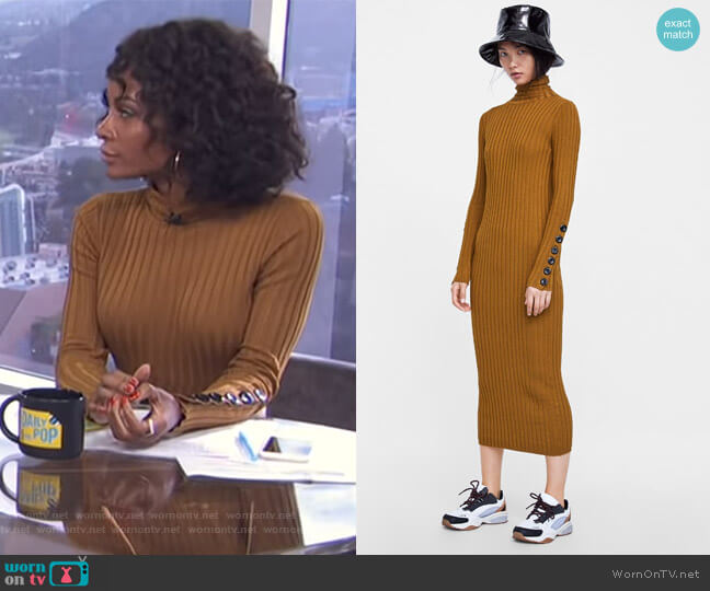 Knit Dress with Buttons by Zara worn by Zuri Hall  on E! News