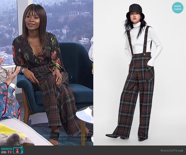 Plaid Overall Jumpsuit by Zara worn by Zuri Hall  on E! News