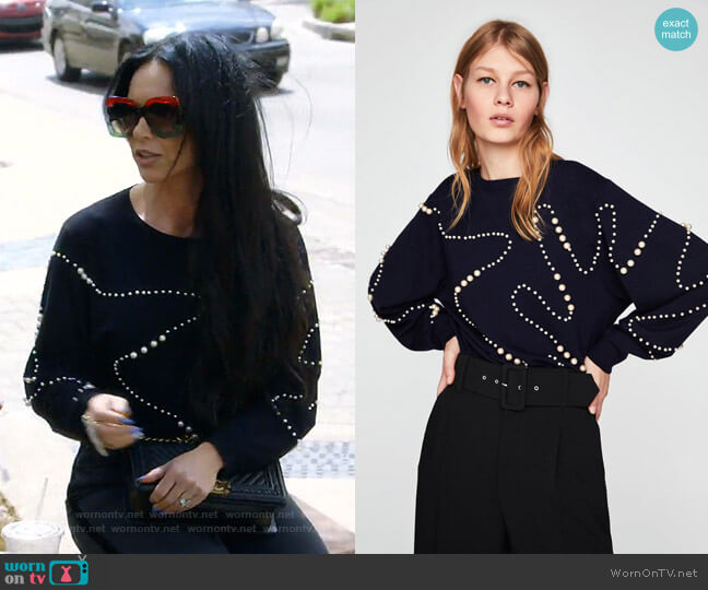 Pearl Sweater by Zara worn by LeeAnne Locken  on The Real Housewives of Dallas