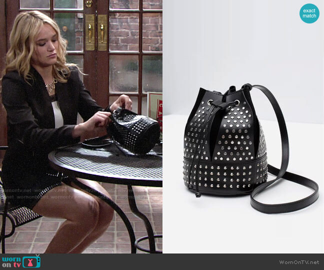 Zara Studded Bucket Bag  worn by Hunter King on The Young & the Restless