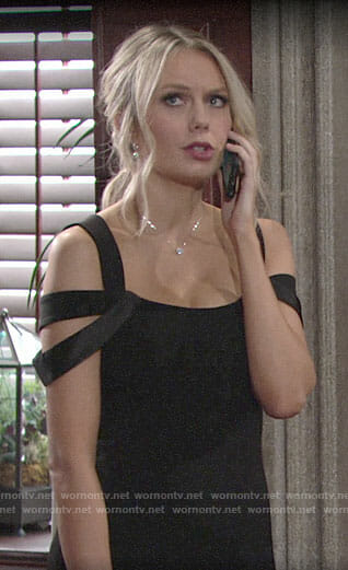 Abby's black bridesmaid dress on The Young and the Restless