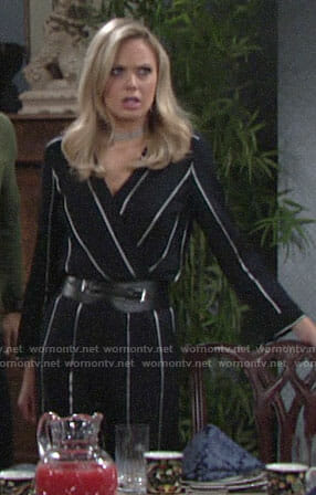 Abby's navy striped jumpsuit on The Young and the Restless