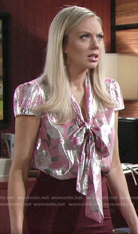 aa732c9593d6d2 Pin it Abby's pink metallic floral blouse on The Young and the Restless