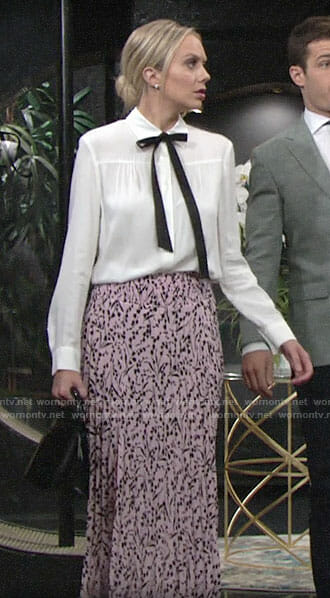 Abby's pink floral midi skirt and white blouse on The Young and the Restless