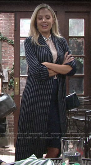 Abby's pinstriped coat and embellished collar top on The Young and the Restless