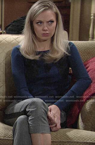 Abby's blue sweater and plaid side-stripe pants on The Young and the Restless