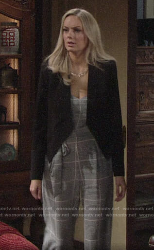 Abby's plaid jumpsuit and black blazer on The Young and the Restless