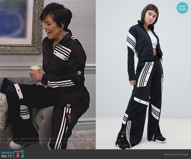 Danielle Cathari Deconstructed Track Top and pants In Black by Adidas worn by Kris Jenner  on Keeping Up with the Kardashians