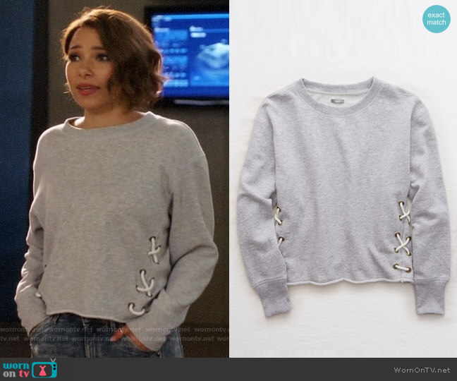 Aerie Lace Up Side Sweatshirt worn by Jessica Parker Kennedy on The Flash