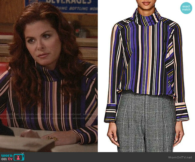 Akira Naka Striped Crepe Blouse worn by Grace Adler (Debra Messing) on Will & Grace