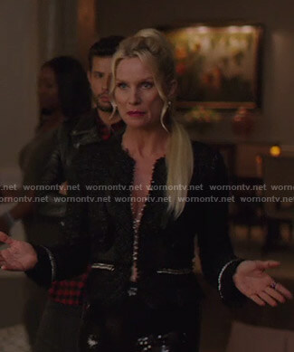 Alexis's black chain-trim tweed jacket on Dynasty