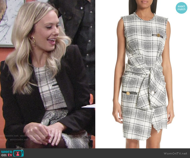 Alexander Wang Tie Waist Tweed Dress worn by Abby Newman (Melissa Ordway) on The Young & the Restless