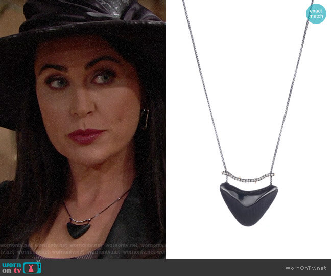 Alexis Bittar Crystal Encrusted Bar and Shield Pendant Necklace worn by Quinn Fuller (Rena Sofer) on The Bold & the Beautiful