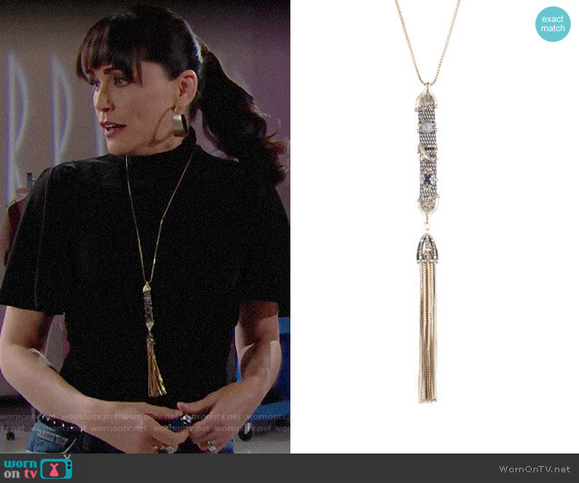 Alexis Bittar Stone Studded Chain Mesh Tassel Pendant Necklace worn by Quinn Fuller (Rena Sofer) on The Bold & the Beautiful