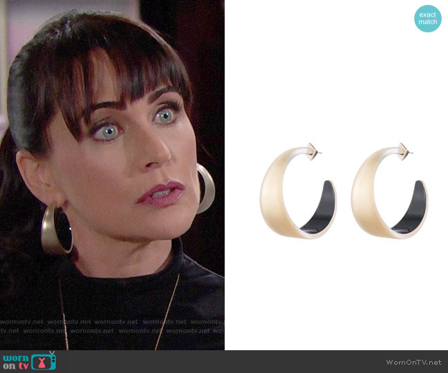 Alexis Bittar Wide Graduated Medium Hoop Earring worn by Quinn Fuller (Rena Sofer) on The Bold & the Beautiful