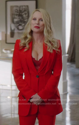 Alexis's red double lapel jacket on Dynasty