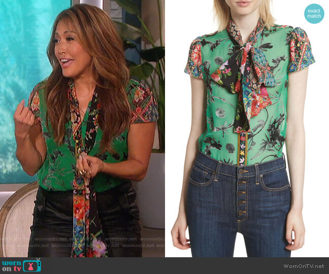 Bow Neck Mixed Print Blouse by Alice + Olivia worn by Carrie Inaba (Carrie Inaba) on The Talk
