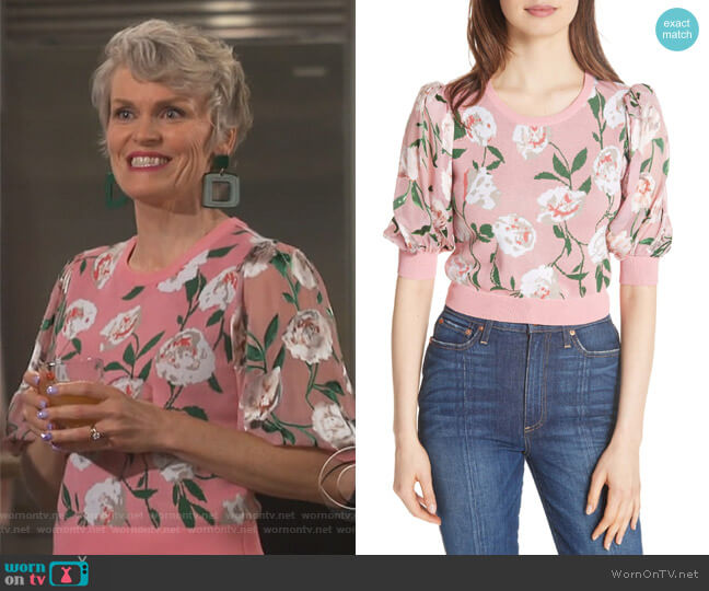 Brandy Floral Puff Crop Sweater by Alice + Olivia worn by Stephnie Weir on Happy Together