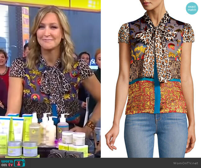 Lara's mixed print top on Good Morning America