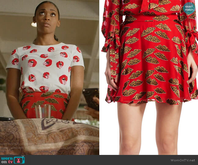 X Donald Blaise Printed Skater Skirt by  Alice + Olivia worn by Nafessa Williams on Black Lightning