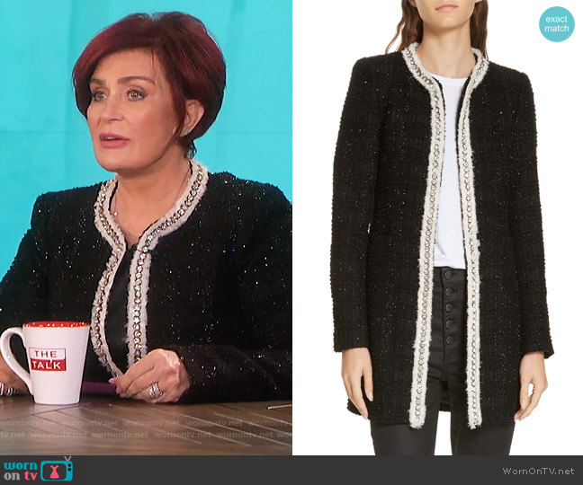 Andreas Tweed Jacket by Alice + Olivia worn by Sharon Osbourne on The Talk