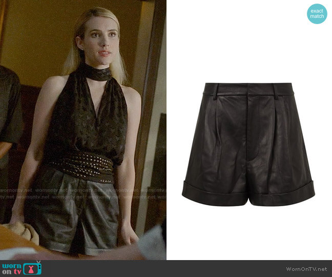 Alice + Olivia Conry Leather Shorts worn by Emma Roberts on American Horror Story