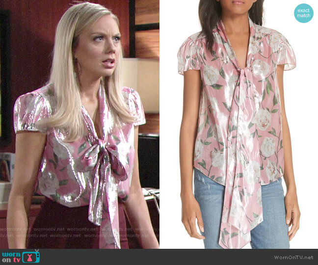 Abby's metallic floral blouse on The Young and the Restless