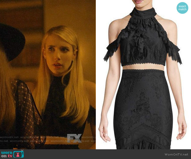 Alice + Olivia Regina Top worn by Madison Montgomery (Emma Roberts) on American Horror Story
