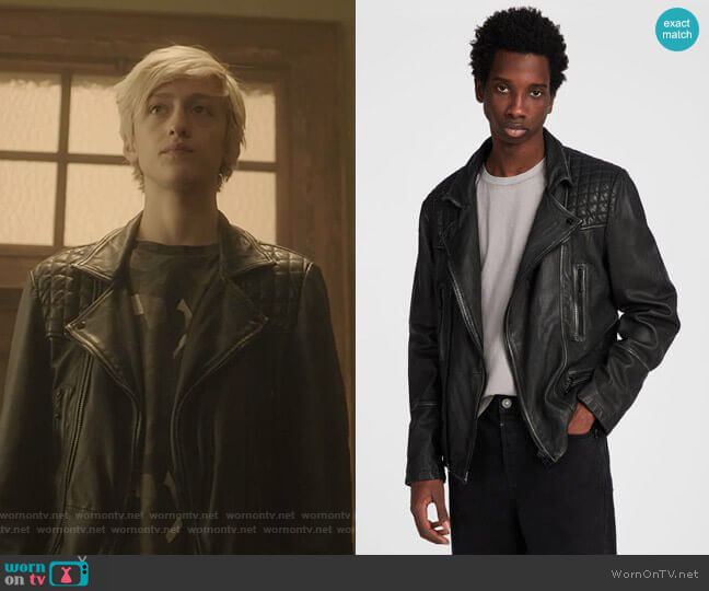 Cargo Leather Biker Jacket by All Saints worn by Andy Strucker (Percy Hynes White) on The Gifted