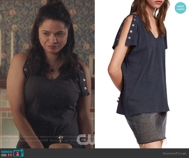 All Saints Cruz Ida T-shirt worn by Melonie Diaz on Charmed