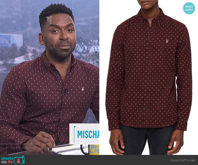 Bethel Slim Fit Dot Flannel Shirt by All Saints worn by Justin Sylvester on E! News